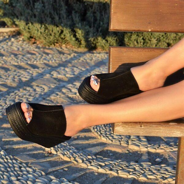 Δερμάτινες γυναικείες πλατφόρμες 506 - Μαύρο