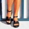 Δερμάτινες γυναικείες πλατφόρμες 601 - Μαύρο