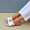 Δερμάτινα σανδάλια φλάτ 140 - Άσπρο